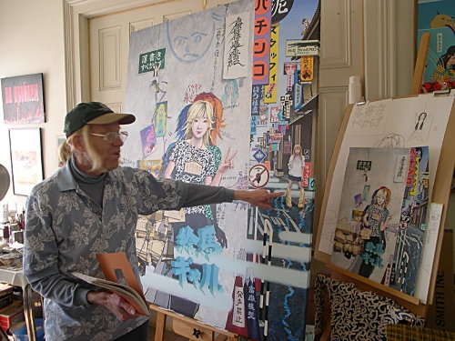 Orr in his Eureka studio in front of Graffiti Girl and other art work