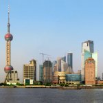 Shanghai skyline, east bank of the Huangpu River, with Oriental Pearl TV Tower
